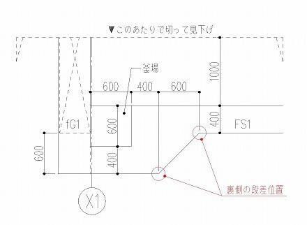 基礎伏図での釜場表現-2